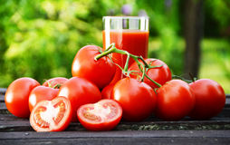 Tomatoes and juice in the garden. Organic food Stock Image