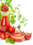 Tomatoes, juice and sauce Royalty Free Stock Photography
