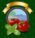 Tomatoes label. With gulf of naples landscape background Stock Photos