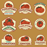 Tomatoes labels. Labels and stickers for using in different spheres Royalty Free Stock Photo