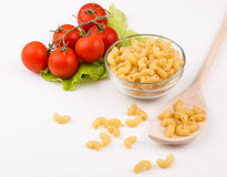 Tomatoes, leaf and paste isolated on a white Royalty Free Stock Photography