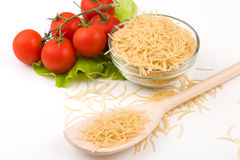 Tomatoes, leaf and paste isolated on a white Stock Images