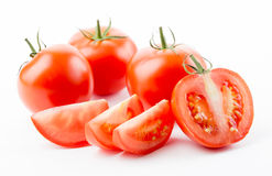 Tomatoes with leaves Stock Image
