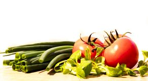 Tomatoes and leeks. Salad stock images