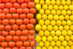 Tomatoes and lemon stacked Royalty Free Stock Images