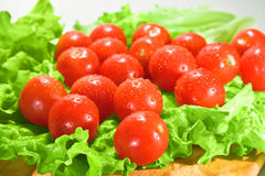 Tomatoes and lettuce. Cherry tomatoes and lettuce on a cutting board stock image