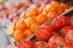 Tomatoes and mandarines. Fruits and vegetables stall with tomatoes, mandarines and others stock images