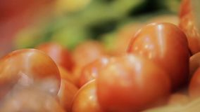 Tomatoes on the market showcase stock footage