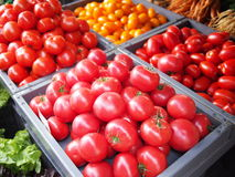 Tomatoes at market stall Royalty Free Stock Photos