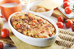 Tomatoes meat and cheese bake Stock Photo