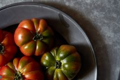 Tomatoes on a metal background royalty free stock image