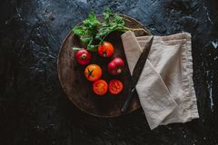 Organic Food Photography - Tomatoes, Mint and Red Beet. Tomatoes, Mint and Red Beet Royalty Free Stock Photography