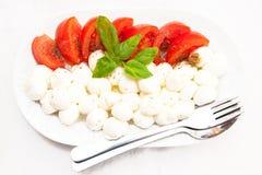 Tomatoes and mozarella. Fresh tomatoes and balls of mozarella Stock Photos