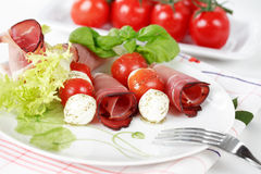 Tomatoes and mozzarella Royalty Free Stock Images