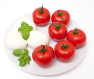 Tomatoes and mozzarella Stock Images