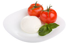 Tomatoes with mozzarella and basil. Isolated on white Royalty Free Stock Photo