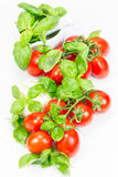 Tomatoes, mozzarella and basil Royalty Free Stock Photo