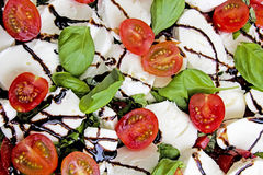 Tomatoes with mozzarella and basil Stock Image