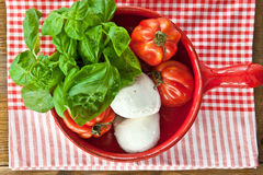 Tomatoes, mozzarella and fresh basil Stock Photography
