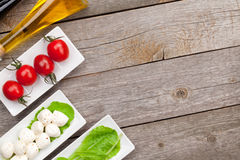 Tomatoes, mozzarella and green salad leaves with condiments Stock Photos