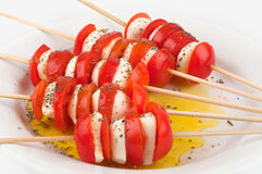 Tomatoes, mozzarella and olive oil Royalty Free Stock Photography
