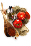 Tomatoes, olive and spices. Mediterranean kitchen ingredients, Tomatoes, olive and spices Royalty Free Stock Photography