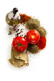 Tomatoes, olive and spices. Mediterranean kitchen ingredients, Tomatoes, olive and spices Royalty Free Stock Image