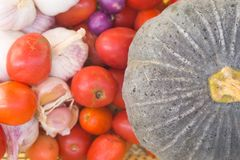 Tomatoes, onion, tomatoes, onions, colorful in a basket. stock photo