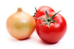 Tomatoes and onion Royalty Free Stock Images