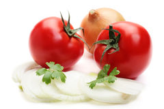 Tomatoes and onion Stock Photos