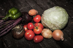 Tomatoes, onions, cabbage, carrots, bell peppers, beets with top Royalty Free Stock Images