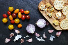 Cheese and crackers with onions and tomatoes Royalty Free Stock Photo