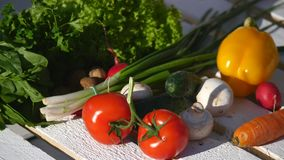 Tomatoes and other vegetables in a wooden box royalty free stock image