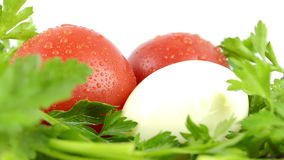 Tomatoes, parsley and boiled egg. Fresh two tomatoes, parsley and boiled egg close-up stock video footage