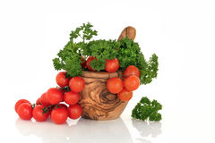 Tomatoes and Parsley Herb Stock Photos