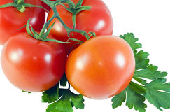 Tomatoes and parsley leaves Royalty Free Stock Photos