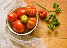 Tomatoes and parsley Stock Photography