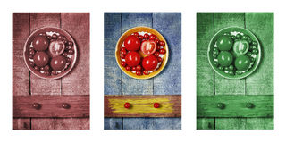 Tomatoes with pasta as a drover, triptych in brown, blue and green.  Stock Images