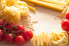 Tomatoes and pasta with copyspace Royalty Free Stock Image