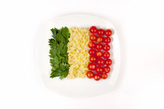 Tomatoes, pasta and herb. Like symbol Italian flag Royalty Free Stock Image