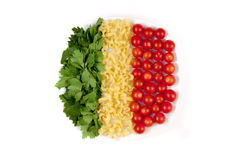 Tomatoes, pasta and herb. Like symbol Italian flag Royalty Free Stock Images