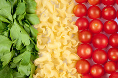 Tomatoes, pasta and herb Royalty Free Stock Images