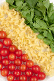 Tomatoes, pasta and herb. Like symbol Italian flag Royalty Free Stock Photos