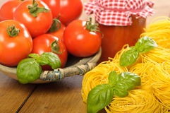 Tomatoes & Pasta With Sauce Stock Image