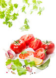 Tomatoes paste with spices and greens Royalty Free Stock Photos