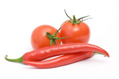Tomatoes and peperoni Royalty Free Stock Images