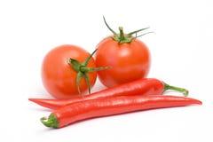 Tomatoes and peperoni Royalty Free Stock Photos