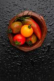 Tomatoes and pepper in a bowl Royalty Free Stock Images