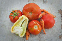 Tomatoes, pepper and carrots Stock Image
