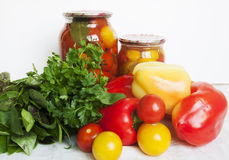 Tomatoes and pepper conservation Royalty Free Stock Images